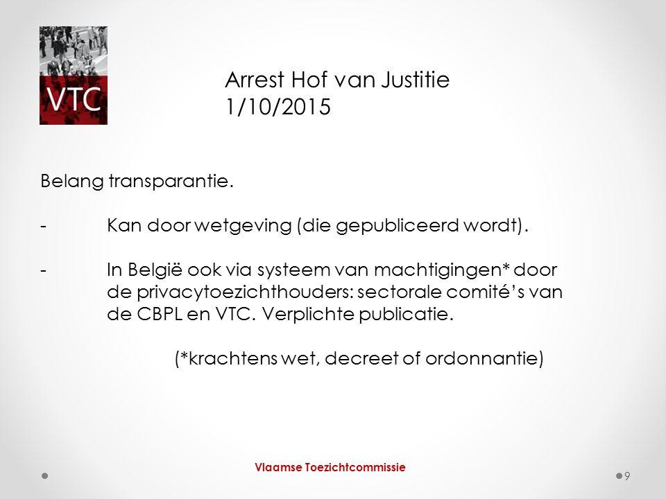 Vlaamse Toezichtcommissie 9 Arrest Hof van Justitie 1/10/2015 Belang transparantie. - Kan door wetgeving (die gepubliceerd wordt). -In België ook via