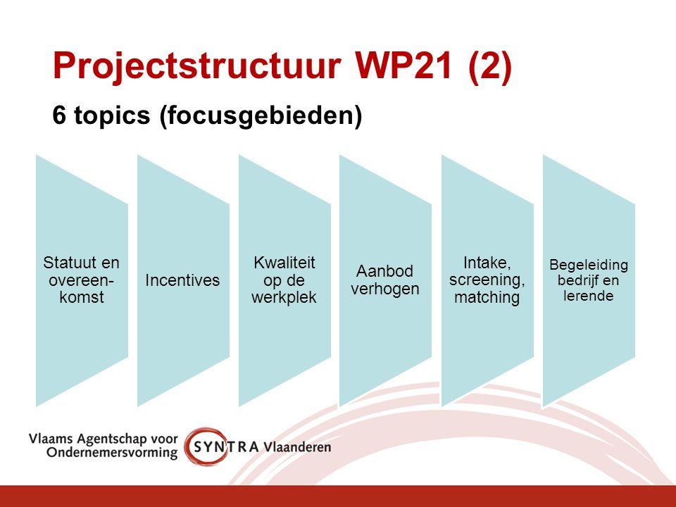 Statuut en overeen- komst Incentives Kwaliteit op de werkplek Aanbod verhogen Intake, screening, matching Begeleiding bedrijf en lerende Projectstructuur WP21 (2) 6 topics (focusgebieden)