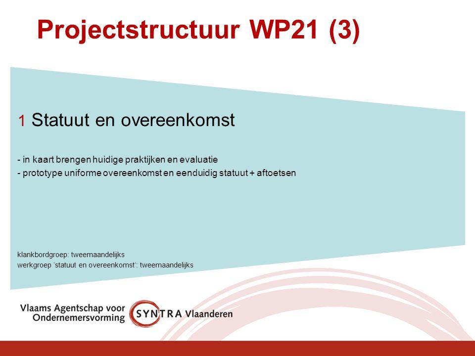 Projectstructuur WP21 (3) 1 Statuut en overeenkomst - in kaart brengen huidige praktijken en evaluatie - prototype uniforme overeenkomst en eenduidig statuut + aftoetsen klankbordgroep: tweemaandelijks werkgroep 'statuut en overeenkomst': tweemaandelijks