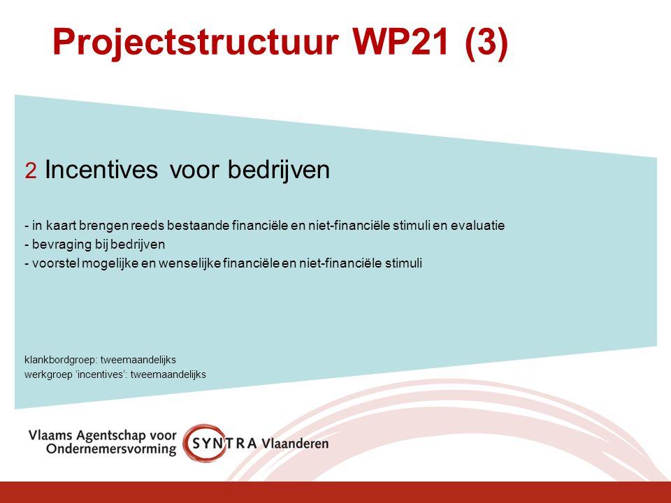 Projectstructuur WP21 (3) 2 Incentives voor bedrijven - in kaart brengen reeds bestaande financiële en niet-financiële stimuli en evaluatie - bevraging bij bedrijven - voorstel mogelijke en wenselijke financiële en niet-financiële stimuli klankbordgroep: tweemaandelijks werkgroep 'incentives': tweemaandelijks
