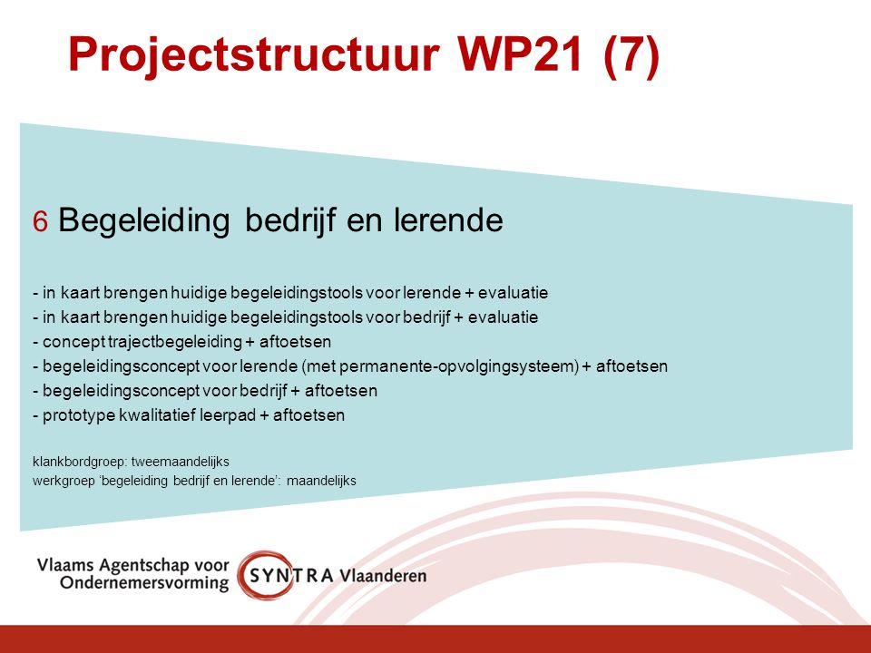 Projectstructuur WP21 (7) 6 Begeleiding bedrijf en lerende - in kaart brengen huidige begeleidingstools voor lerende + evaluatie - in kaart brengen hu