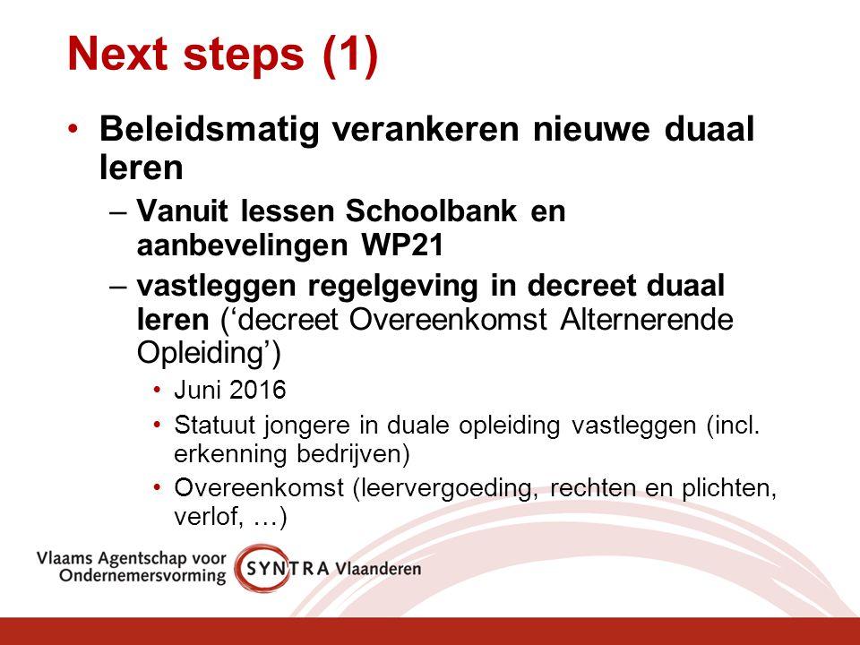 Next steps (1) Beleidsmatig verankeren nieuwe duaal leren –Vanuit lessen Schoolbank en aanbevelingen WP21 –vastleggen regelgeving in decreet duaal ler