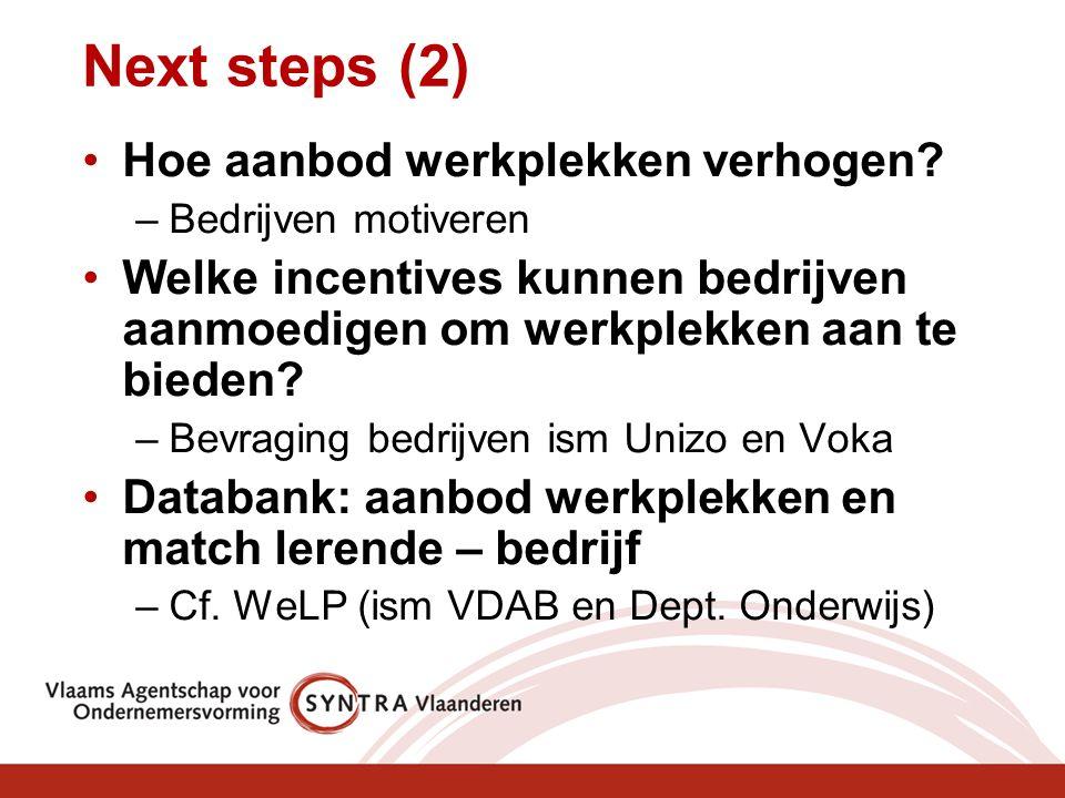 Next steps (2) Hoe aanbod werkplekken verhogen? –Bedrijven motiveren Welke incentives kunnen bedrijven aanmoedigen om werkplekken aan te bieden? –Bevr