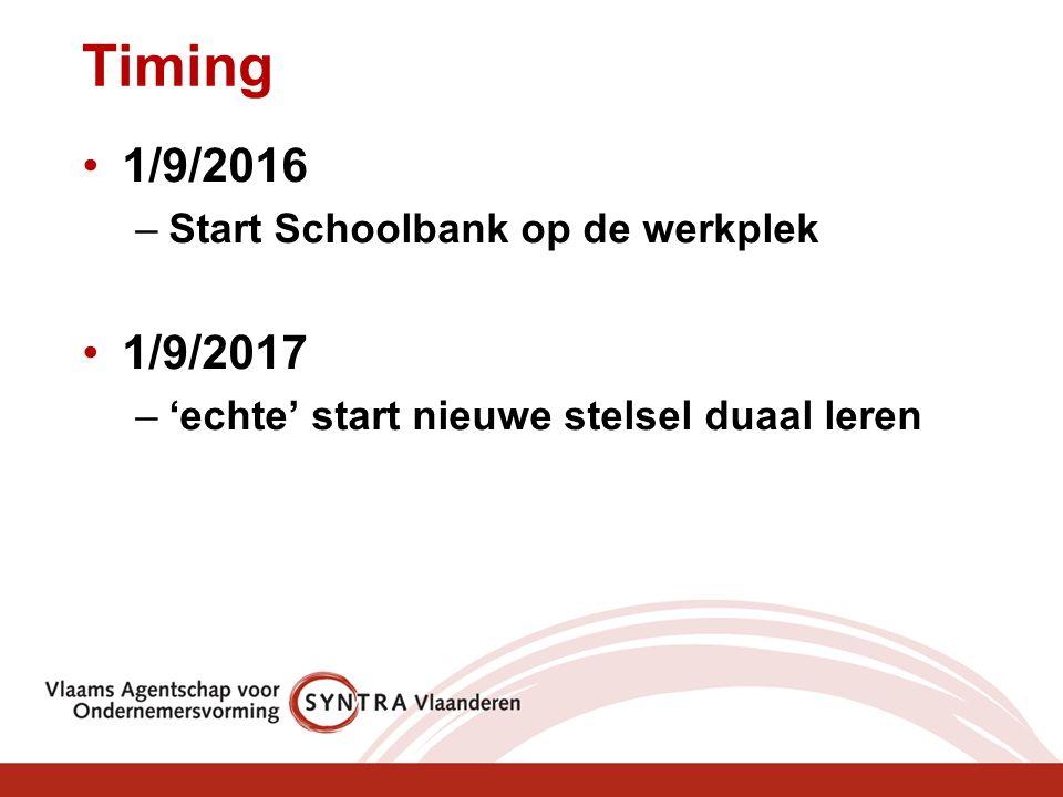 Timing 1/9/2016 –Start Schoolbank op de werkplek 1/9/2017 –'echte' start nieuwe stelsel duaal leren