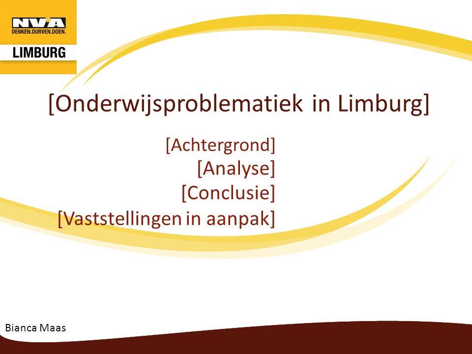 Onderwijsproblematiek Vaststellingen in aanpak 6.Eigen opgezette acties : 6.1 vóór de bekendmaking van de diepteanalyse -Oproep naar alle Limburgse gemeentebesturen om in te zetten op hun flankerend onderwijsbeleid met 3 speerpunten: 1.