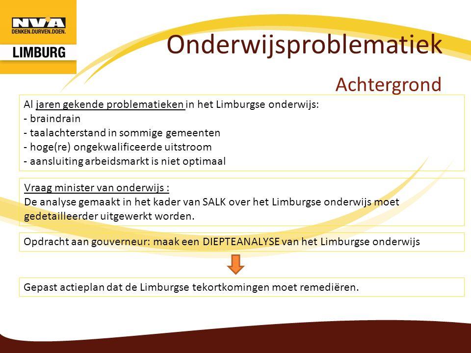 Onderwijsproblematiek Achtergrond Vraag minister van onderwijs : De analyse gemaakt in het kader van SALK over het Limburgse onderwijs moet gedetailleerder uitgewerkt worden.