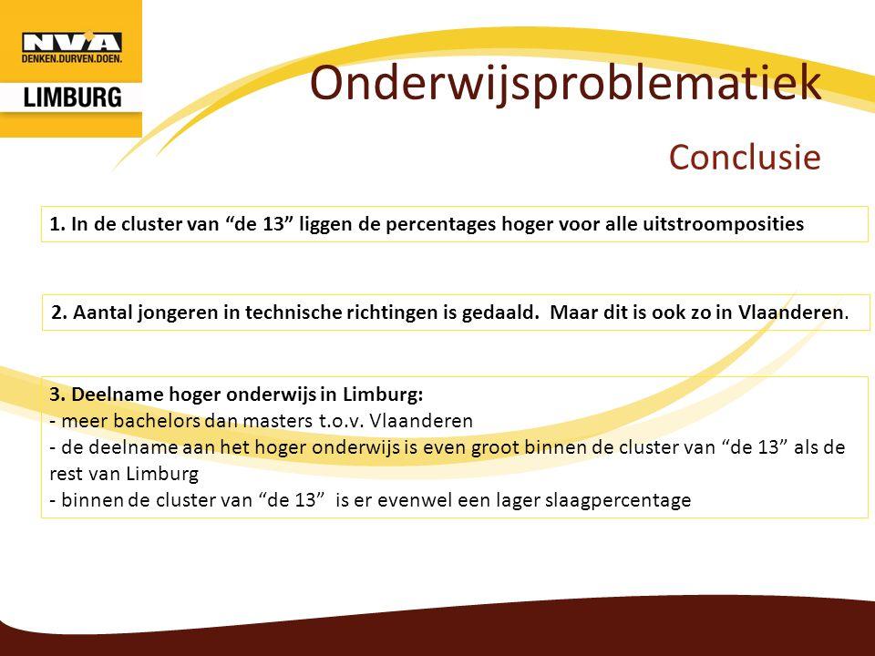 """Onderwijsproblematiek Conclusie 1. In de cluster van """"de 13"""" liggen de percentages hoger voor alle uitstroomposities 2. Aantal jongeren in technische"""