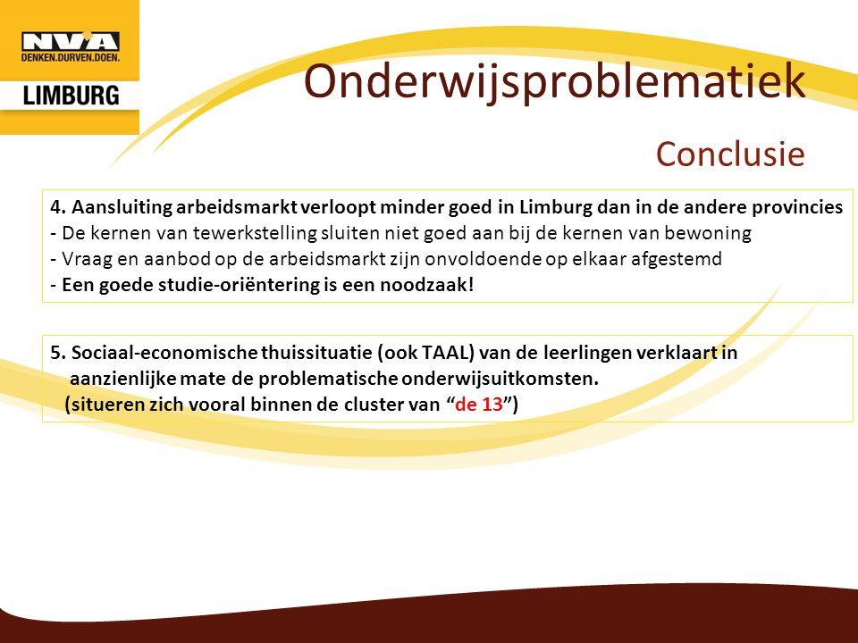 Onderwijsproblematiek Conclusie 5. Sociaal-economische thuissituatie (ook TAAL) van de leerlingen verklaart in aanzienlijke mate de problematische ond