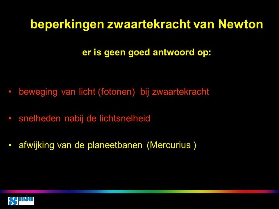 beperkingen zwaartekracht van Newton er is geen goed antwoord op: beweging van licht (fotonen) bij zwaartekracht snelheden nabij de lichtsnelheid afwijking van de planeetbanen (Mercurius )