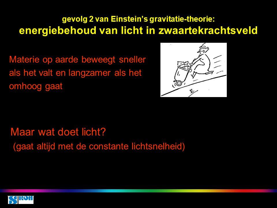 gevolg 2 van Einstein's gravitatie-theorie: energiebehoud van licht in zwaartekrachtsveld Materie op aarde beweegt sneller als het valt en langzamer als het omhoog gaat Maar wat doet licht.