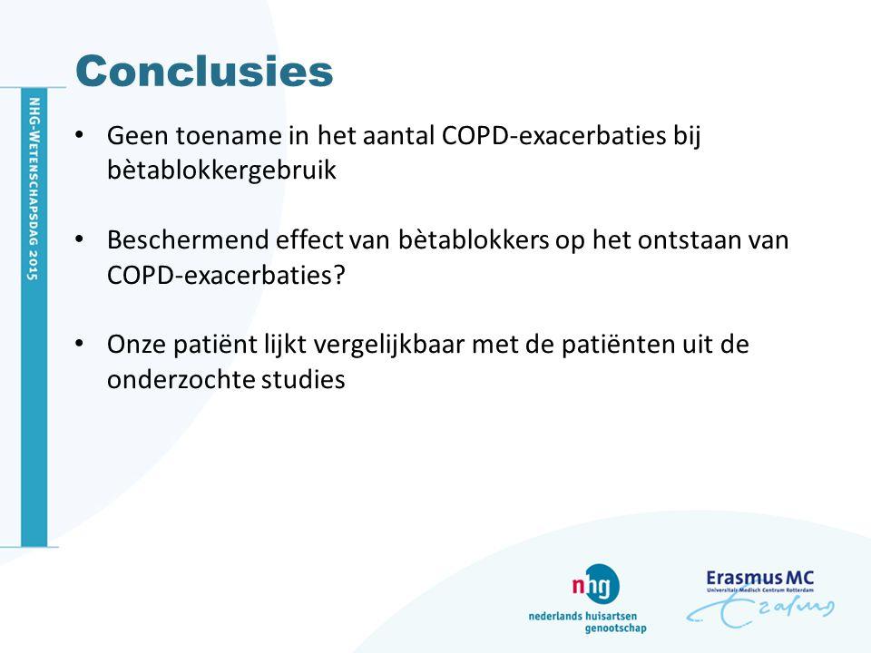 Conclusies Geen toename in het aantal COPD-exacerbaties bij bètablokkergebruik Beschermend effect van bètablokkers op het ontstaan van COPD-exacerbati