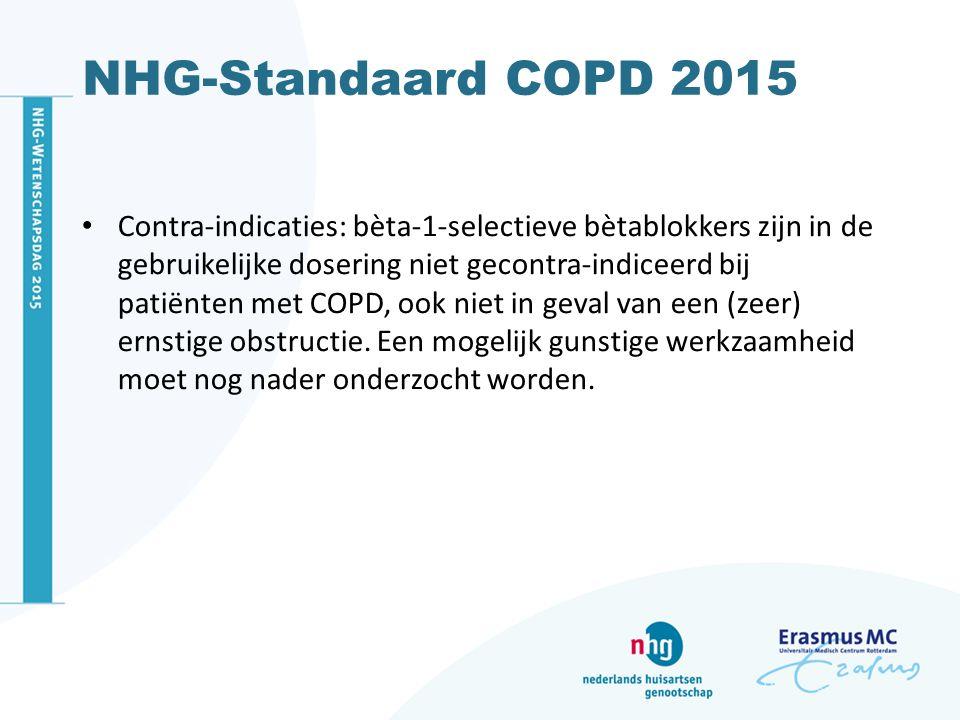 NHG-Standaard COPD 2015 Contra-indicaties: bèta-1-selectieve bètablokkers zijn in de gebruikelijke dosering niet gecontra-indiceerd bij patiënten met