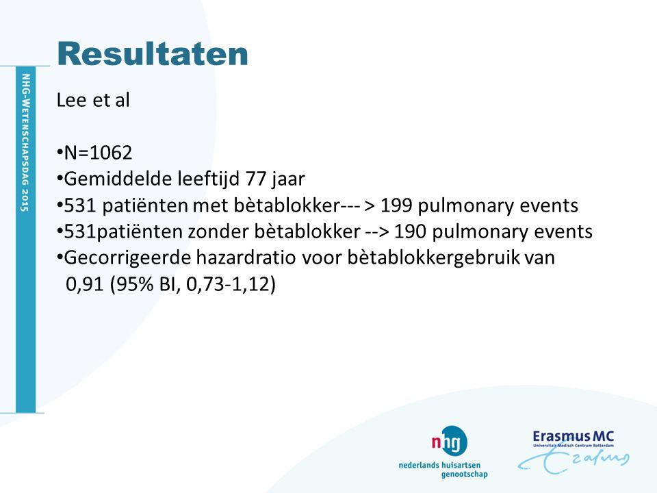 Resultaten Lee et al N=1062 Gemiddelde leeftijd 77 jaar 531 patiënten met bètablokker--- > 199 pulmonary events 531patiënten zonder bètablokker --> 19