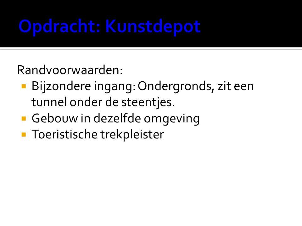 Randvoorwaarden:  Bijzondere ingang: Ondergronds, zit een tunnel onder de steentjes.