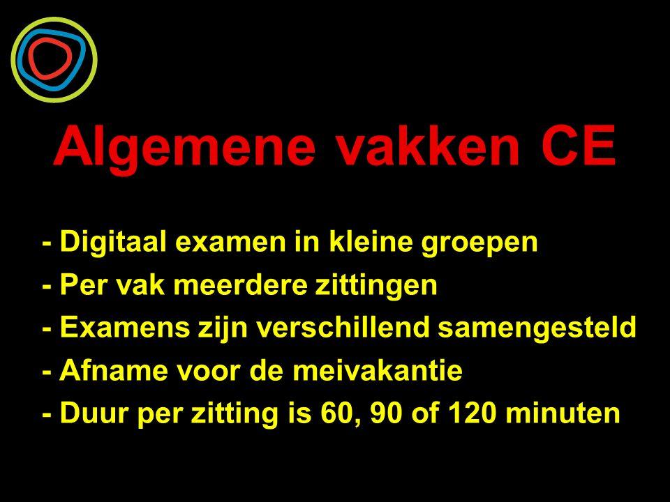 Algemene vakken CE - Digitaal examen in kleine groepen - Per vak meerdere zittingen - Examens zijn verschillend samengesteld - Afname voor de meivakan