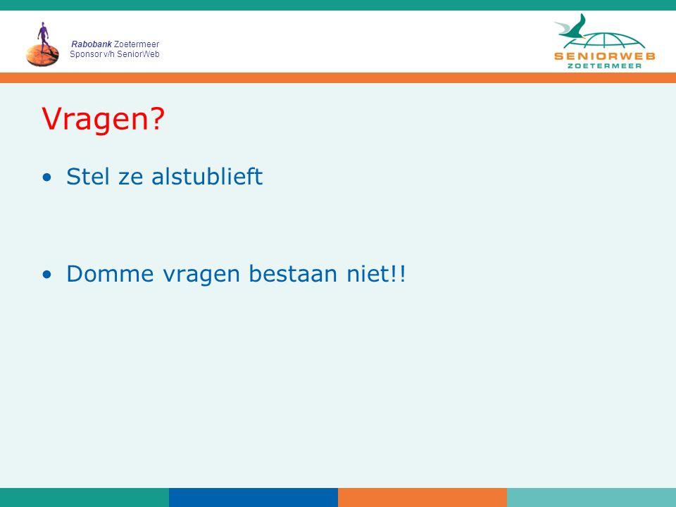 Rabobank Zoetermeer Sponsor v/h SeniorWeb Indeling Cursus Les 1: –Kennismaken met Webklik Les 2: –Opmaak website Les 3: –Hyperlinks Les 4: –Instellingen Webklik