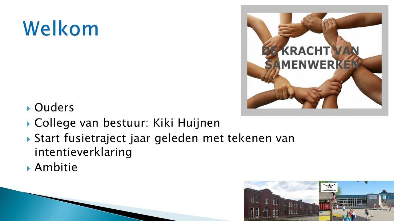  Ouders  College van bestuur: Kiki Huijnen  Start fusietraject jaar geleden met tekenen van intentieverklaring  Ambitie