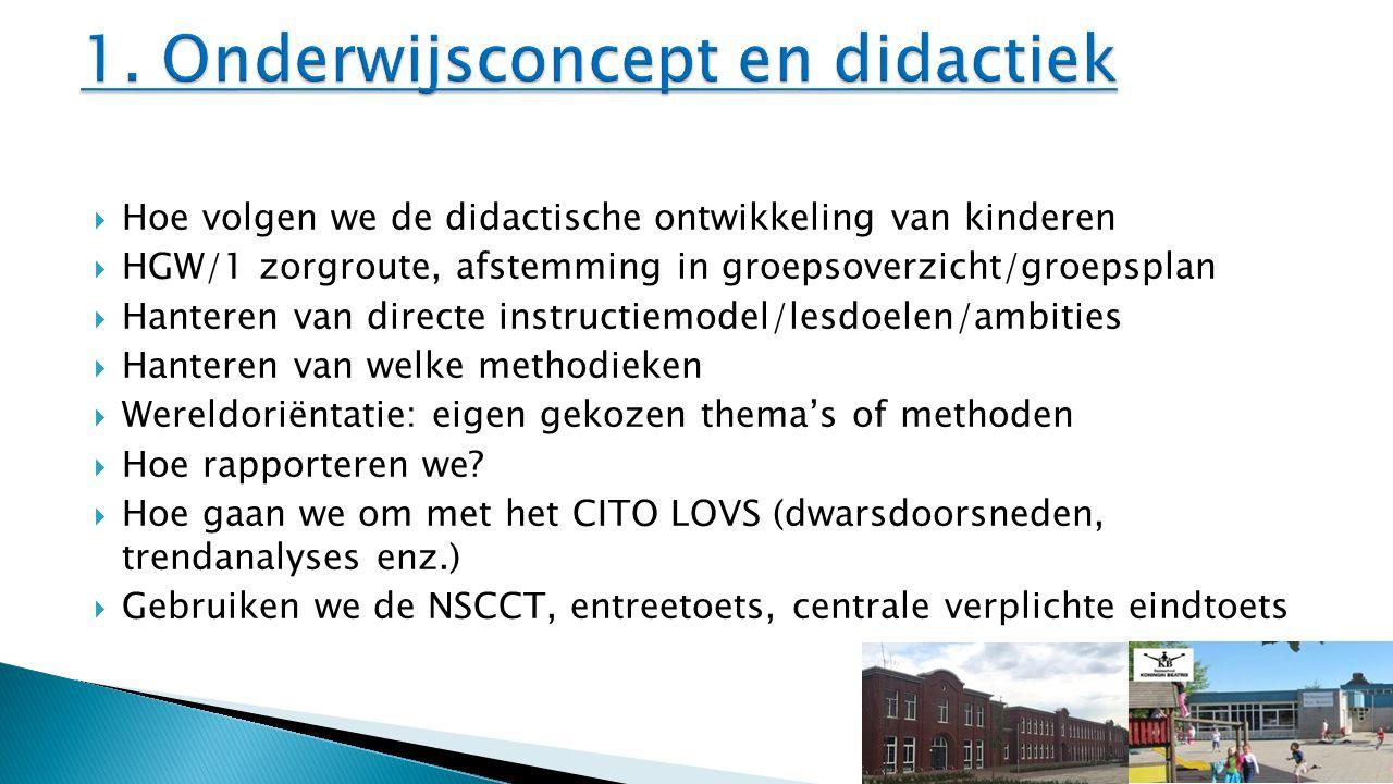  Hoe volgen we de didactische ontwikkeling van kinderen  HGW/1 zorgroute, afstemming in groepsoverzicht/groepsplan  Hanteren van directe instructie