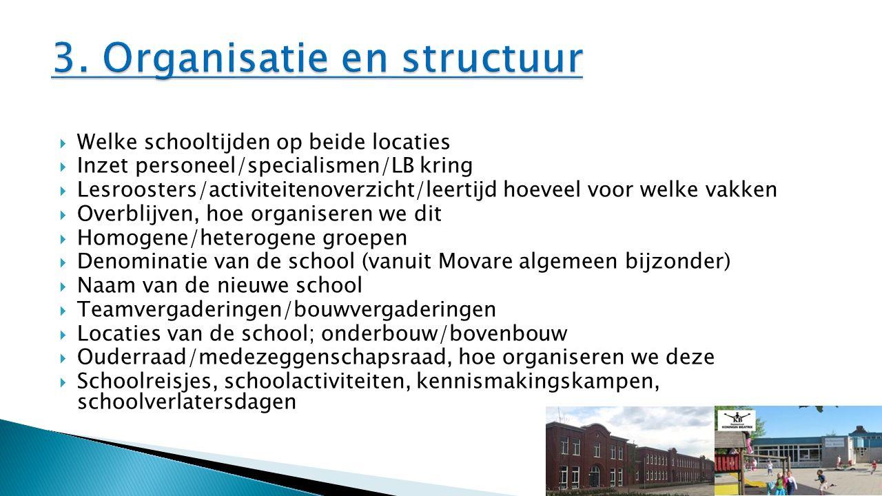  Welke schooltijden op beide locaties  Inzet personeel/specialismen/LB kring  Lesroosters/activiteitenoverzicht/leertijd hoeveel voor welke vakken