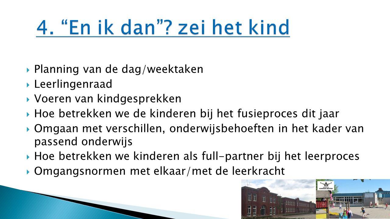  Planning van de dag/weektaken  Leerlingenraad  Voeren van kindgesprekken  Hoe betrekken we de kinderen bij het fusieproces dit jaar  Omgaan met