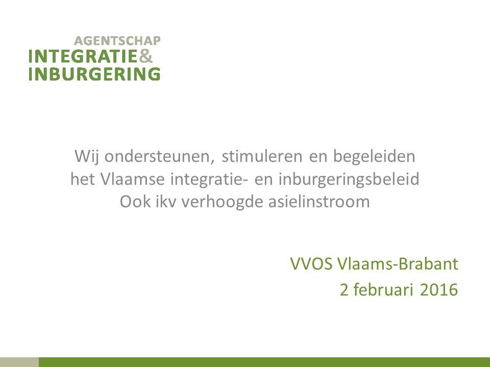 Wij ondersteunen, stimuleren en begeleiden het Vlaamse integratie- en inburgeringsbeleid Ook ikv verhoogde asielinstroom VVOS Vlaams-Brabant 2 februari 2016