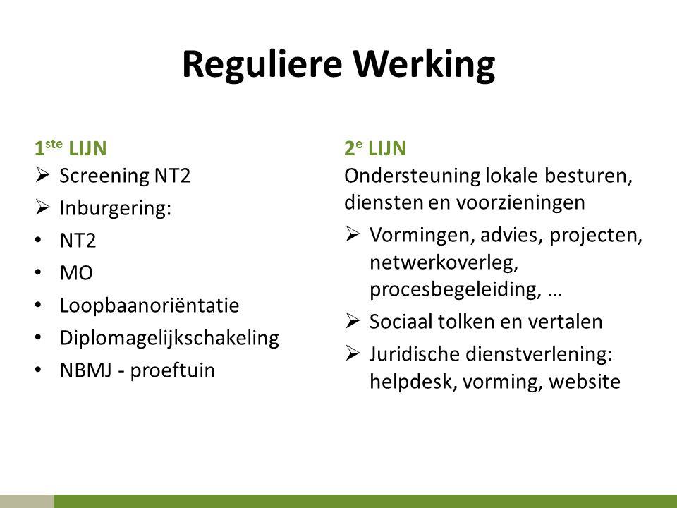 Reguliere Werking 1 ste LIJN  Screening NT2  Inburgering: NT2 MO Loopbaanoriëntatie Diplomagelijkschakeling NBMJ - proeftuin 2 e LIJN Ondersteuning lokale besturen, diensten en voorzieningen  Vormingen, advies, projecten, netwerkoverleg, procesbegeleiding, …  Sociaal tolken en vertalen  Juridische dienstverlening: helpdesk, vorming, website