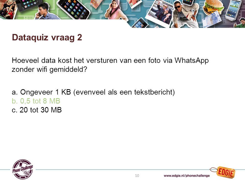 10 Hoeveel data kost het versturen van een foto via WhatsApp zonder wifi gemiddeld.