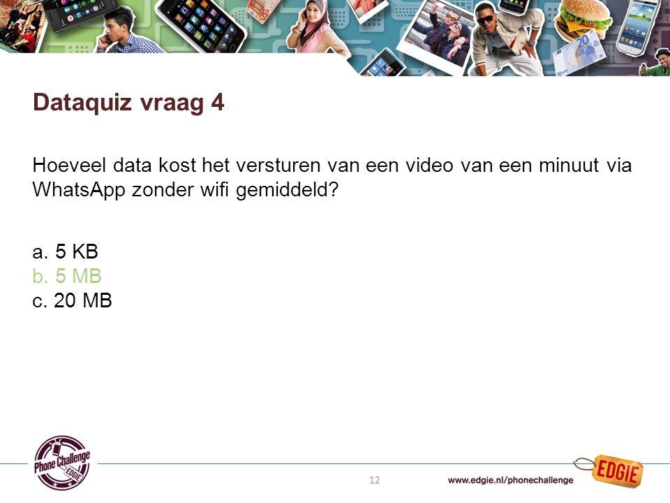 12 Hoeveel data kost het versturen van een video van een minuut via WhatsApp zonder wifi gemiddeld.