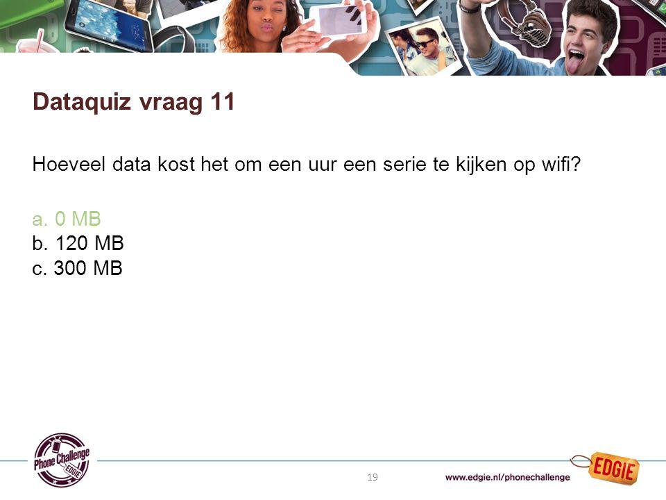 19 Hoeveel data kost het om een uur een serie te kijken op wifi.