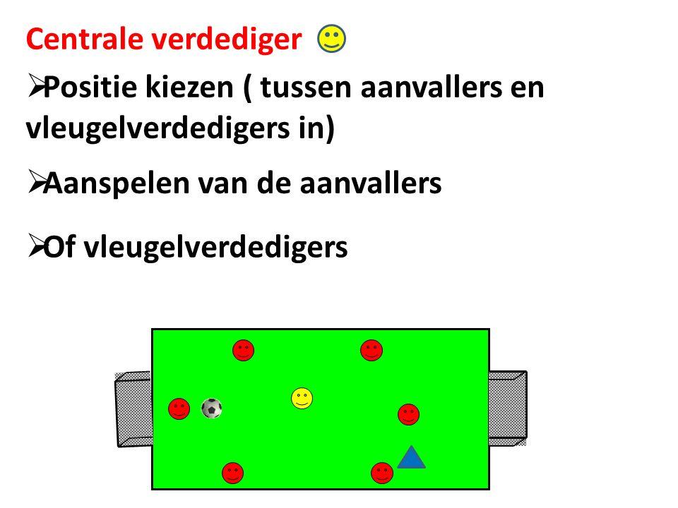 Centrale verdediger  Positie kiezen ( tussen aanvallers en vleugelverdedigers in)  Aanspelen van de aanvallers  Of vleugelverdedigers