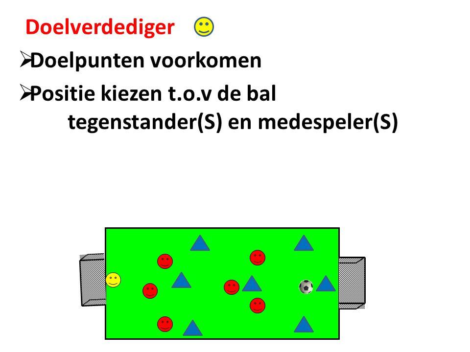 Doelverdediger  Doelpunten voorkomen  Positie kiezen t.o.v de bal tegenstander(S) en medespeler(S)