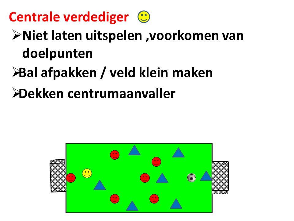 Centrale verdediger  Niet laten uitspelen,voorkomen van doelpunten  Dekken centrumaanvaller  Bal afpakken / veld klein maken