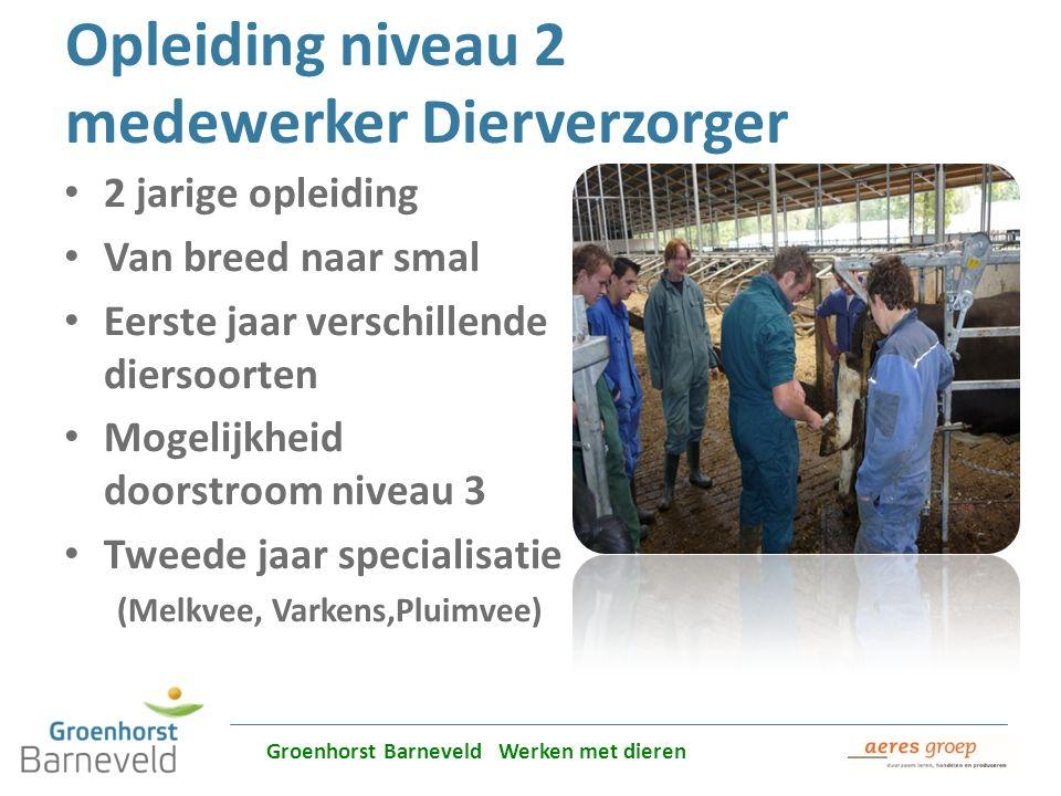 Alles over dierverzorging leer je in Barneveld Opleiding niveau 2 medewerker Dierverzorger 2 jarige opleiding Van breed naar smal Eerste jaar verschil