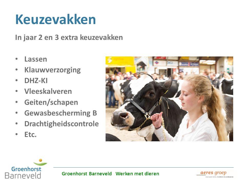 Alles over dierverzorging leer je in Barneveld Keuzevakken In jaar 2 en 3 extra keuzevakken Lassen Klauwverzorging DHZ-KI Vleeskalveren Geiten/schapen
