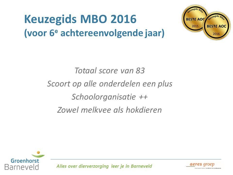 Alles over dierverzorging leer je in Barneveld Keuzegids MBO 2016 (voor 6 e achtereenvolgende jaar) Totaal score van 83 Scoort op alle onderdelen een