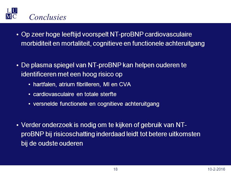 Conclusies Op zeer hoge leeftijd voorspelt NT-proBNP cardiovasculaire morbiditeit en mortaliteit, cognitieve en functionele achteruitgang De plasma spiegel van NT-proBNP kan helpen ouderen te identificeren met een hoog risico op hartfalen, atrium fibrilleren, MI en CVA cardiovasculaire en totale sterfte versnelde functionele en cognitieve achteruitgang Verder onderzoek is nodig om te kijken of gebruik van NT- proBNP bij risicoschatting inderdaad leidt tot betere uitkomsten bij de oudste ouderen 10-2-201618