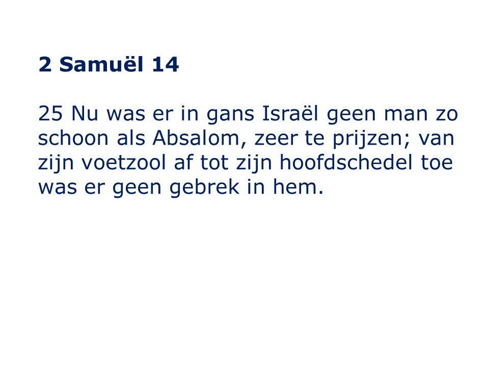 2 Samuël 14 25 Nu was er in gans Israël geen man zo schoon als Absalom, zeer te prijzen; van zijn voetzool af tot zijn hoofdschedel toe was er geen gebrek in hem.
