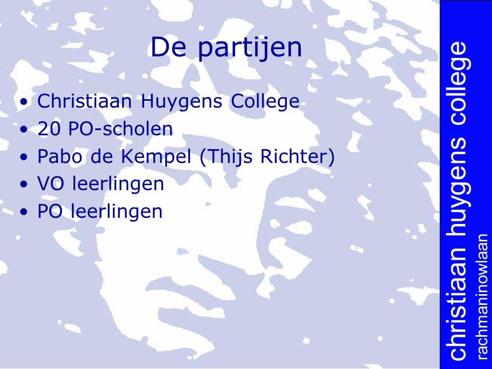 christiaan huygens college rachmaninowlaan De partijen Christiaan Huygens College 20 PO-scholen Pabo de Kempel (Thijs Richter) VO leerlingen PO leerlingen