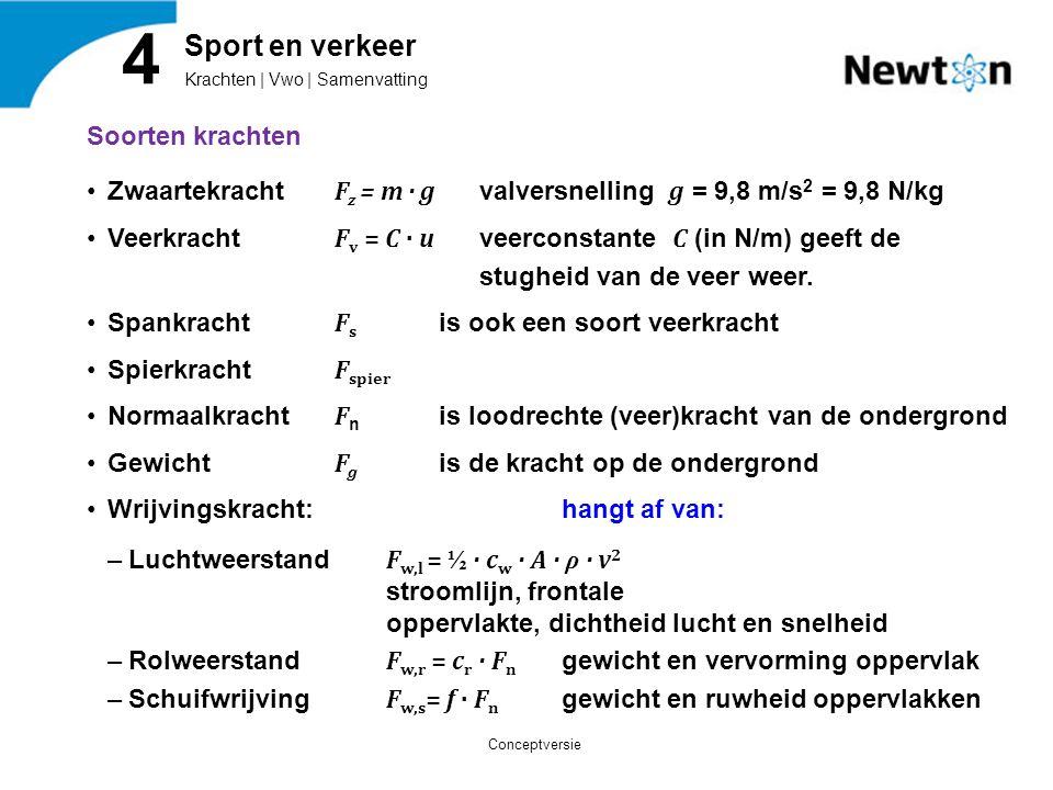 Soorten krachten Zwaartekracht F z = m · g valversnelling g = 9,8 m/s 2 = 9,8 N/kg Veerkracht F v = C · u veerconstante C (in N/m) geeft de stugheid v