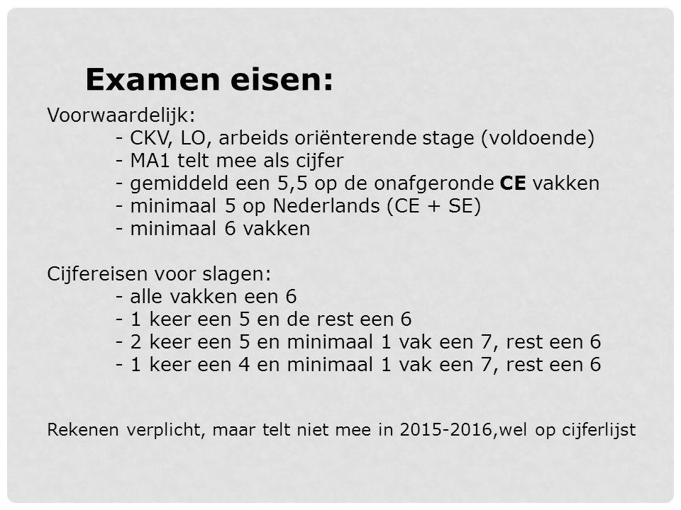 Examen eisen: Voorwaardelijk: - CKV, LO, arbeids oriënterende stage (voldoende) - MA1 telt mee als cijfer - gemiddeld een 5,5 op de onafgeronde CE vak