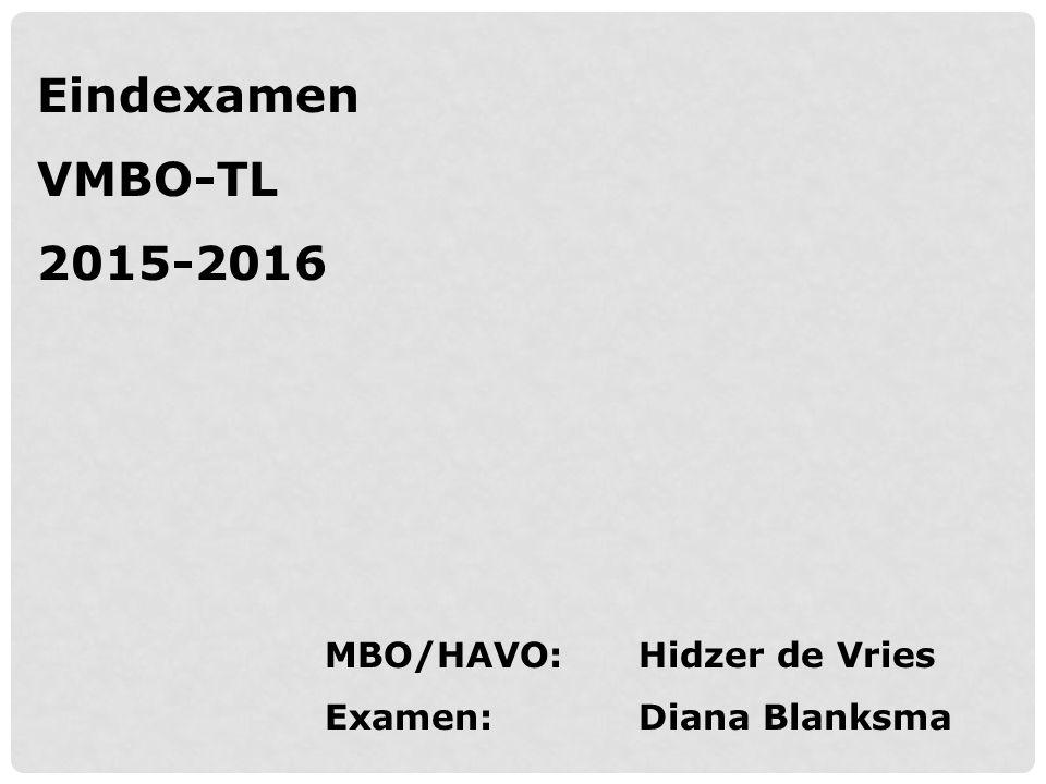 Eindexamen VMBO-TL 2015-2016 MBO/HAVO: Hidzer de Vries Examen: Diana Blanksma