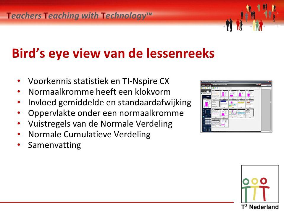 Teachers Teaching with Technology™ Bird's eye view van de lessenreeks Voorkennis statistiek en TI-Nspire CX Normaalkromme heeft een klokvorm Invloed gemiddelde en standaardafwijking Oppervlakte onder een normaalkromme Vuistregels van de Normale Verdeling Normale Cumulatieve Verdeling Samenvatting