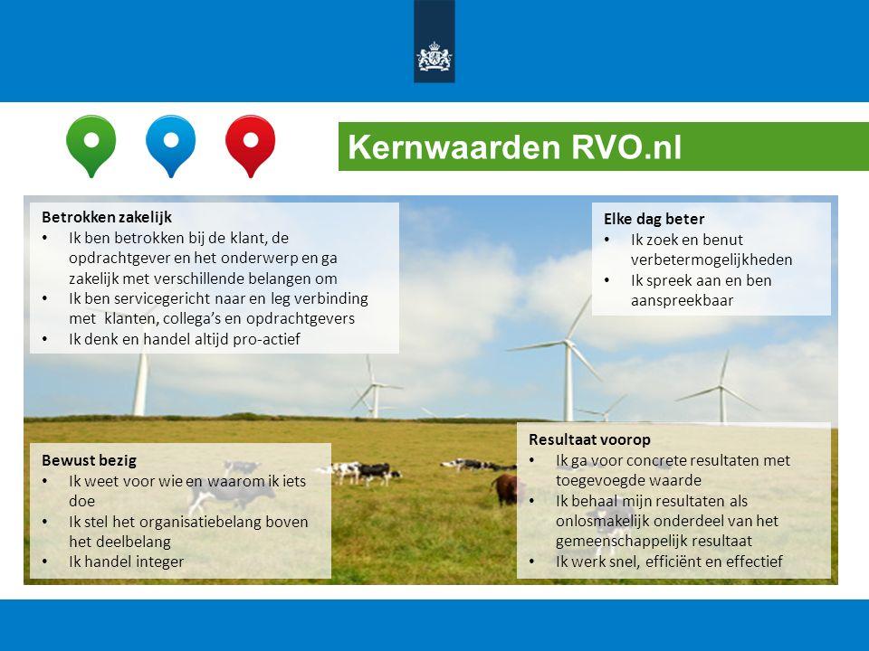 Kernwaarden RVO.nl Bewust bezig Ik weet voor wie en waarom ik iets doe Ik stel het organisatiebelang boven het deelbelang Ik handel integer Resultaat
