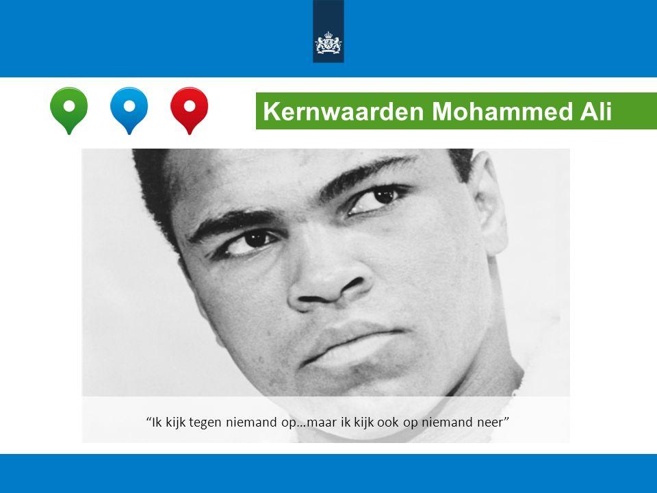"""Kernwaarden Mohammed Ali """"Ik kijk tegen niemand op…maar ik kijk ook op niemand neer"""""""