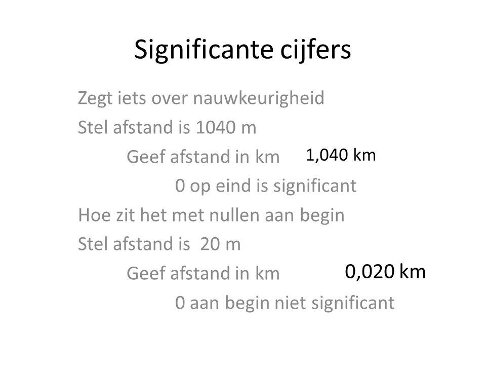 Significante cijfers Zegt iets over nauwkeurigheid Stel afstand is 1040 m Geef afstand in km 0 op eind is significant Hoe zit het met nullen aan begin Stel afstand is 20 m Geef afstand in km 0 aan begin niet significant 0,020 km 1,040 km