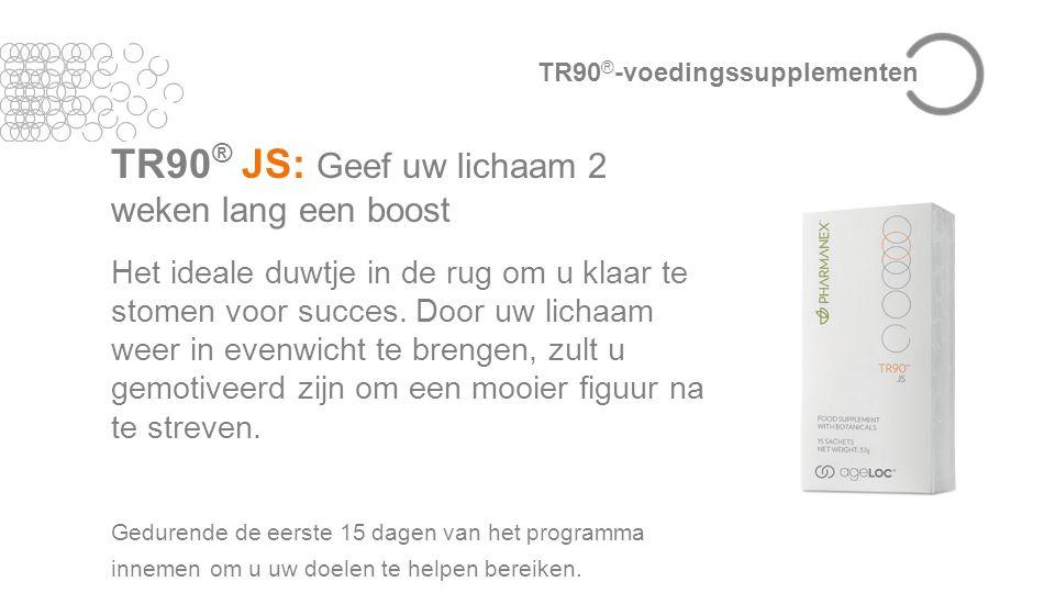 TR90 ® JS: Geef uw lichaam 2 weken lang een boost Het ideale duwtje in de rug om u klaar te stomen voor succes.