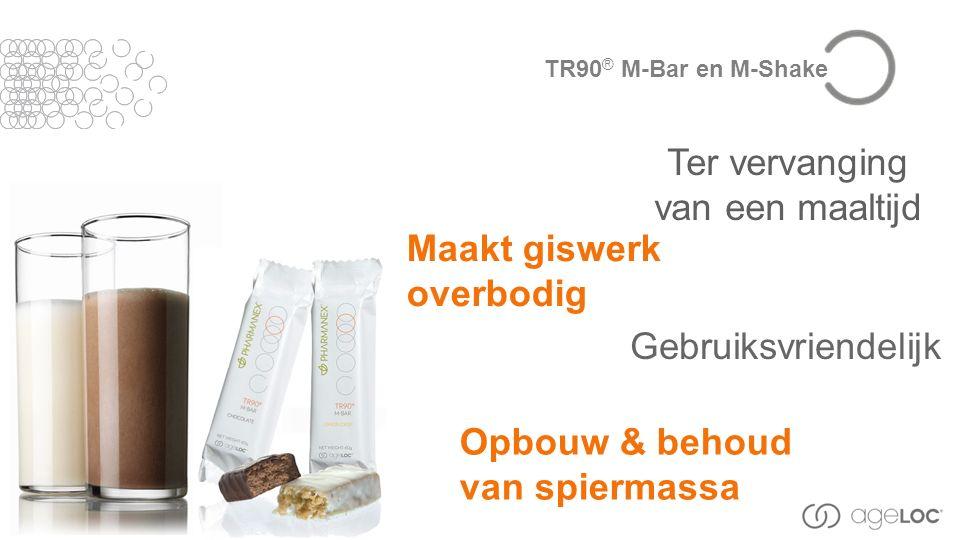 Gebruiksvriendelijk Maakt giswerk overbodig Ter vervanging van een maaltijd Opbouw & behoud van spiermassa TR90 ® M-Bar en M-Shake