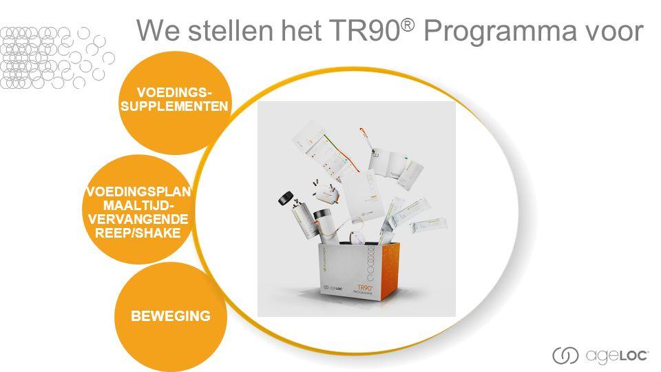We stellen het TR90 ® Programma voor VOEDINGSPLAN MAALTIJD- VERVANGENDE REEP/SHAKE VOEDINGS- SUPPLEMENTEN BEWEGING