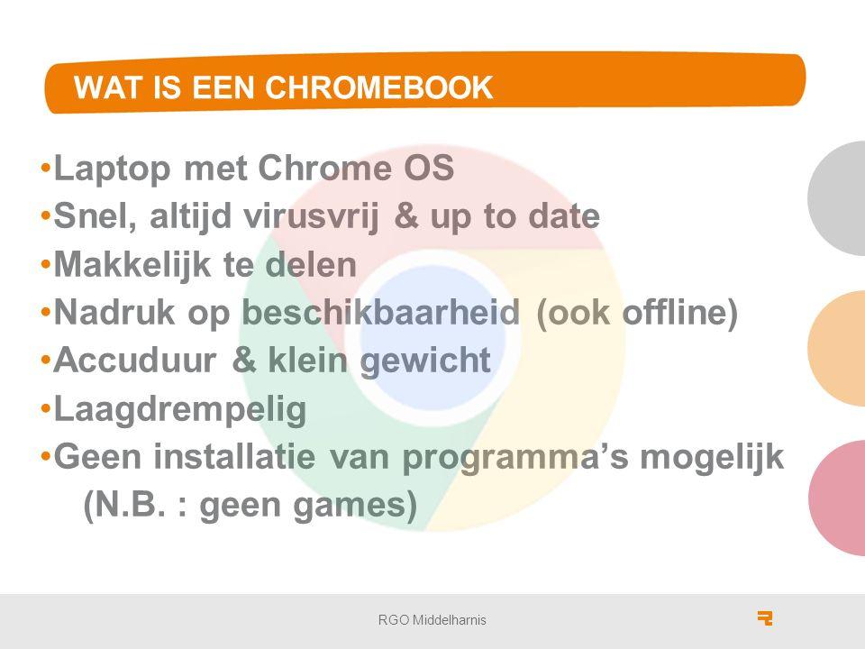 WAT IS EEN CHROMEBOOK Laptop met Chrome OS Snel, altijd virusvrij & up to date Makkelijk te delen Nadruk op beschikbaarheid (ook offline) Accuduur & klein gewicht Laagdrempelig Geen installatie van programma's mogelijk (N.B.