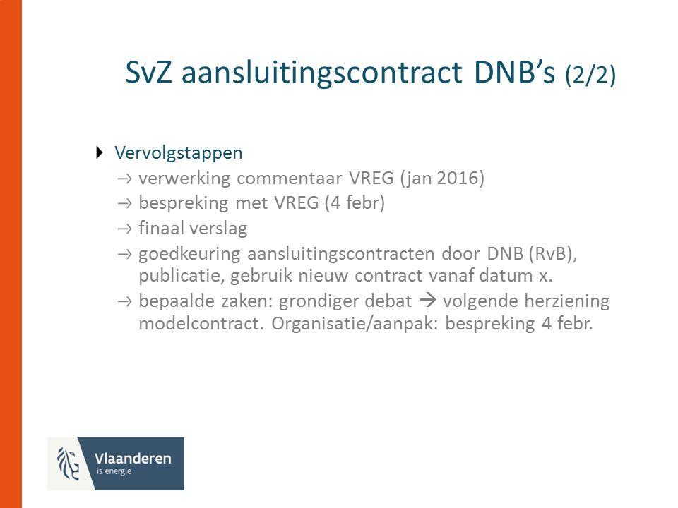 SvZ aansluitingscontract DNB's (2/2) Vervolgstappen verwerking commentaar VREG (jan 2016) bespreking met VREG (4 febr) finaal verslag goedkeuring aansluitingscontracten door DNB (RvB), publicatie, gebruik nieuw contract vanaf datum x.